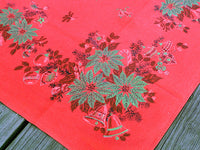 Festive Red Christmas Trimmings Vintage Tablecloth 46x49