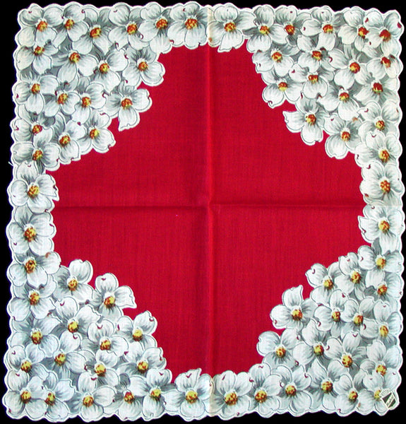 Grey & White Dogwood on Red Vintage Handkerchief