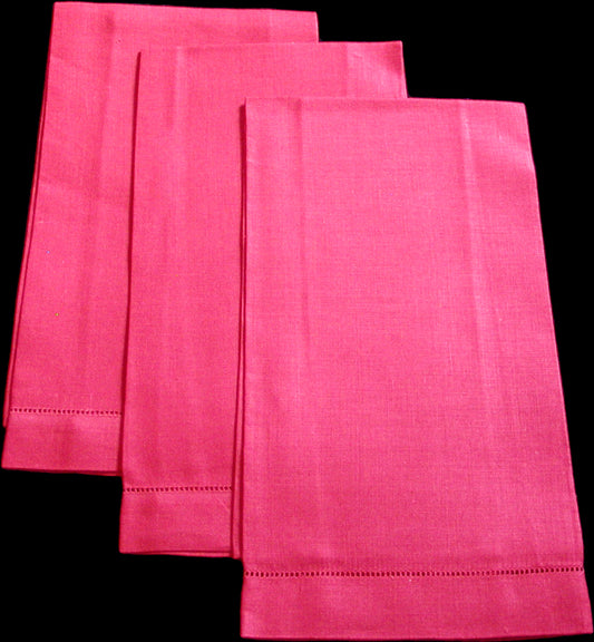 Lipstick Red Fine Vintage Irish Linen Guest Towels, Trio