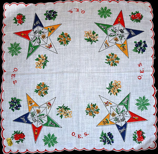 OES Order of the Eastern Star Vintage Handkerchief, Red