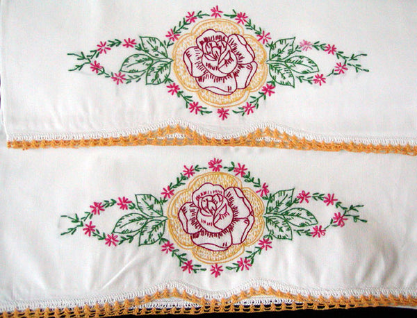 Pair Embroidered Red Rose Vintage Pillowcases w Crochet Lace, Tubing