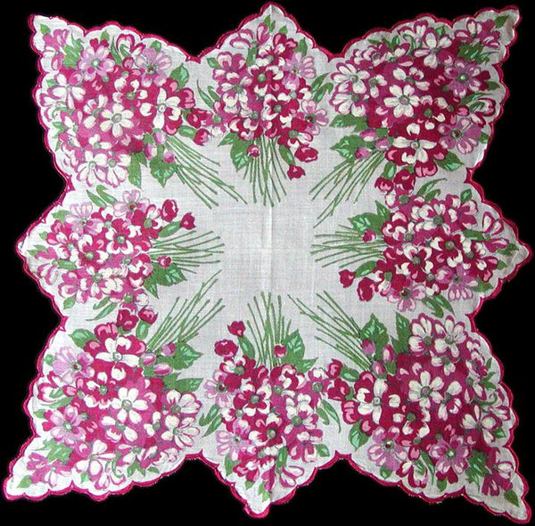 Pink and Red Scalloped Floral Border Vintage Handkerchief