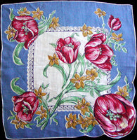 Red and Pink Tulips on Blue Irish Linen Vintage Handkerchief