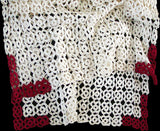 Red & White Vintage Crochet Lace Runner 20x56