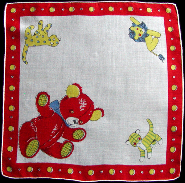 Stuffed Animals Vintage Child's Handkerchief