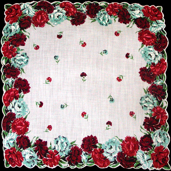 Carnation & Rose Border Vintage Handkerchief