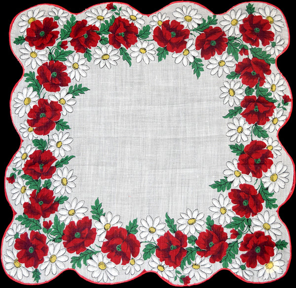 Daisies & Red Poppies Vintage Handkerchief