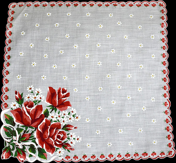 Bouquet of Red Roses and White Daisies Vintage Handkerchief