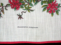 Red Rhodeodendron Vintage Cotton Handkerchief Unused
