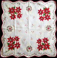 Ribbons & Poinsettias Vintage Christmas Handkerchief