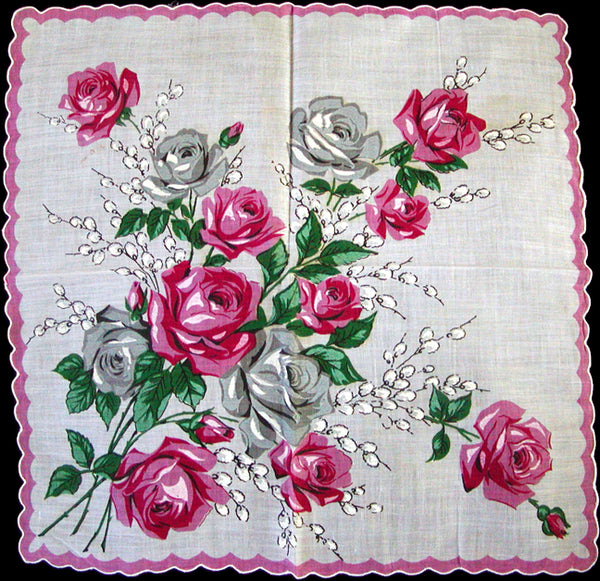 Roses and PussyWillows Vintage Handkerchief, Unused
