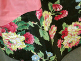 Dusty Rose & Black Floral Polished Cotton Vintage Half Apron