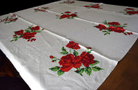 Red Roses and Shadows on Linen Vintage Tablecloth 51x50 Array