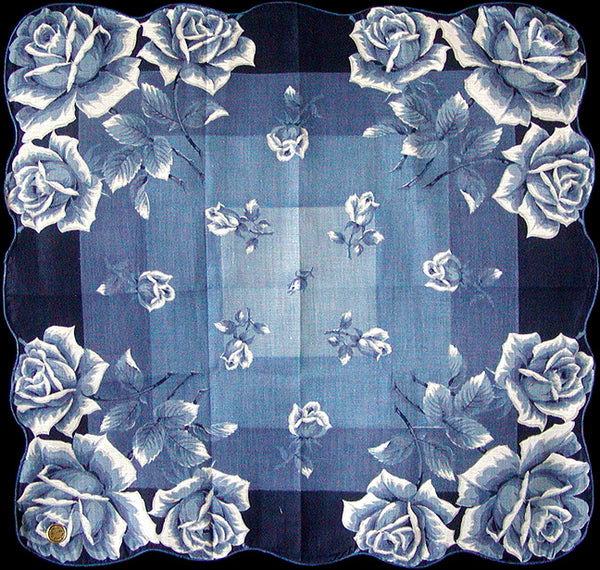 Blue Roses Vintage Handkerchief, 16 Inches New Old Stock