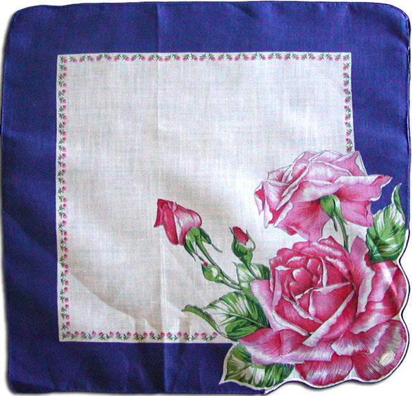 Cabbage Roses in Pink and Red Vintage Handkerchief MWT