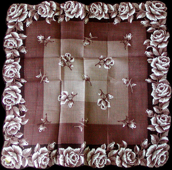 Brown Roses Vintage Handkerchief, 16 Inches New Old Stock