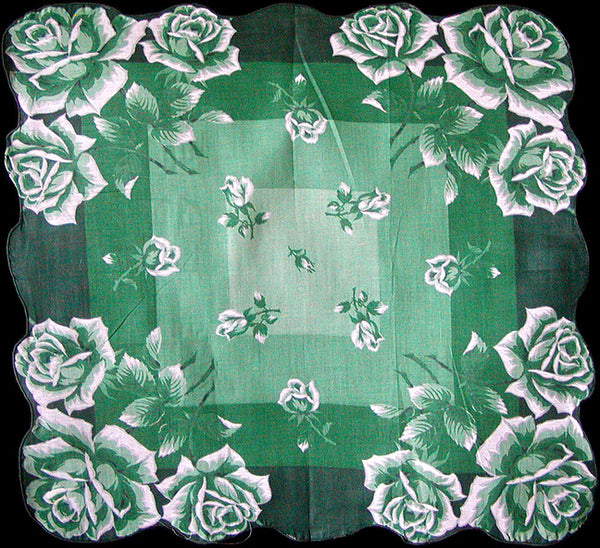 Green Roses Vintage Handkerchief, 16 Inches New Old Stock