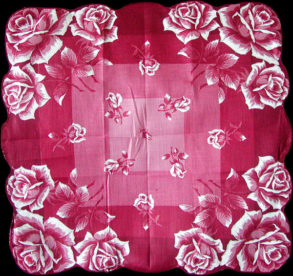 Red Roses Vintage Handkerchief, 16 Inches New Old Stock
