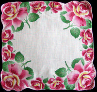 Pink Rose Border Hand Rolled Vintage Handkerchief