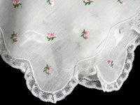Fine Embroidered Pink Flowers w White Lace Vintage Handkerchief