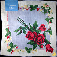 June Flower of the Month Vintage Linen Handkerchief, Kimball