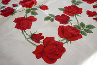 Border of Red Roses Vintage Tablecloth 67x52