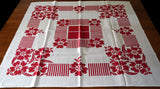 Abstract Red Stripes and Floral Vintage Tablecloth 39x39