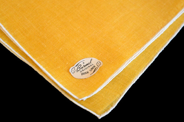 Burmel Hand Rolled Vintage Irish Linen Handkerchief, Gold Yellow