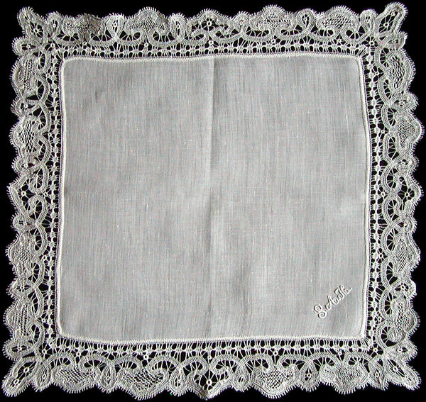 Antique Linen & Handmade Lace Wedding Handkerchief, Monogram SAH