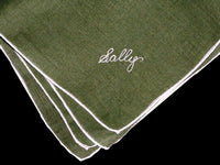 Sally Embroidered Vintage Irish Linen Handkerchiefs, Set of 5