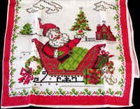 Christmas Santa in Sleigh Vintage Kitchen Linen Tea Towel Unused