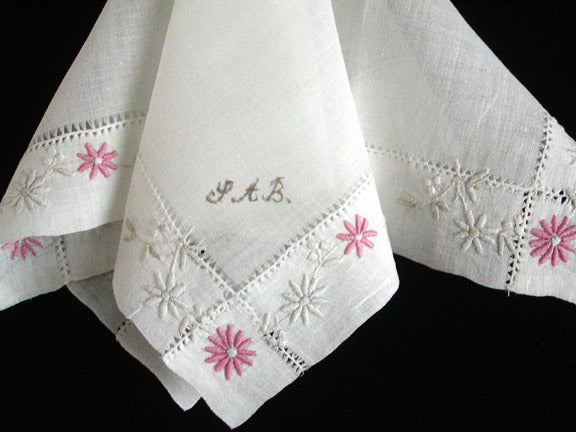 Hand Embroidered Lawn Vintage Wedding Trousseau Handkerchief SAB