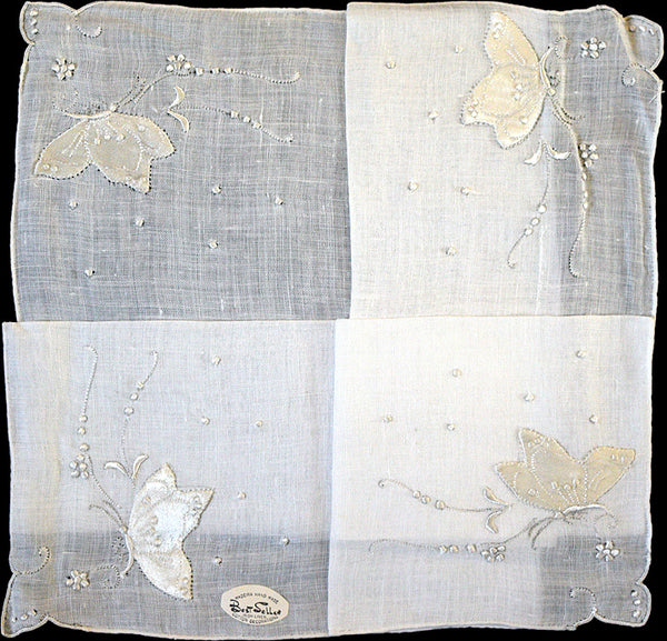 White Satin Butterflies Vintage Irish Linen Handkerchief Madeira