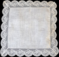 Scalloped Floral Lace and Linen Vintage Wedding Handkerchief