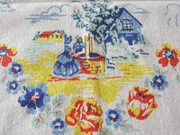 Scenic Horse and Carriage Good Old Days Vintage Tablecloth 46x50