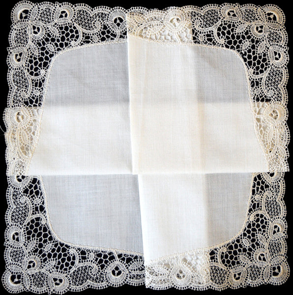 Antique White Schiffli Lace Vintage Wedding Handkerchief