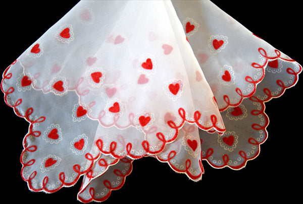 Flocked Sheer Nylon Valentines Day Vintage Handkerchief