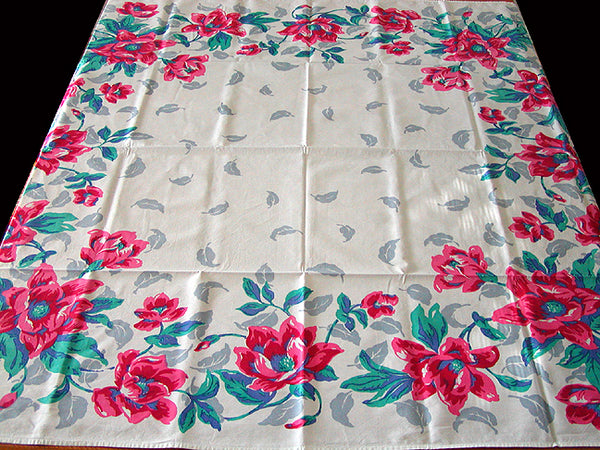 Big Red Poppies Border Vintage Tablecloth 47x51