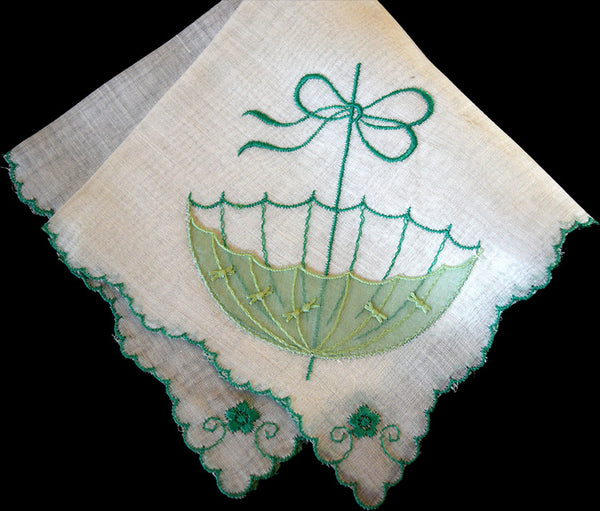 Embroidered Shower Parasol Umbrella Vintage Handkerchief