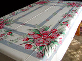 Pink & Red Tulip Bouquets Vintage Tablecloth 60x90 Unused MWT