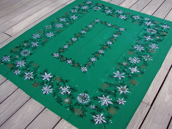 Festive Silver Gold Snowflakes on Green Vintage Tablecloth 53x62