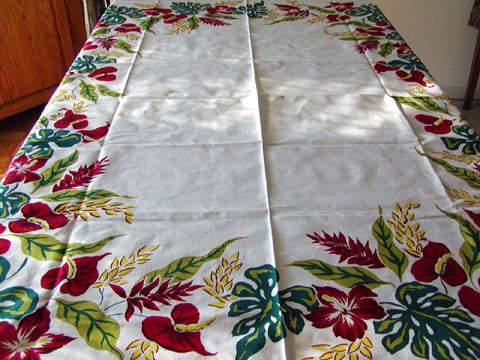 Simtex Exotic Tropical Red Floral Vintage Tablecloth 54x72