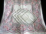 Wine and Gray Floral Bridge Set Vintage Tablecloth and Napkins