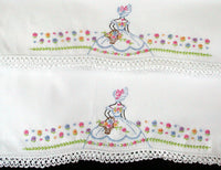 PR Embroidered Southern Belle Vintage Pillowcases w Crochet Lace, Tubing