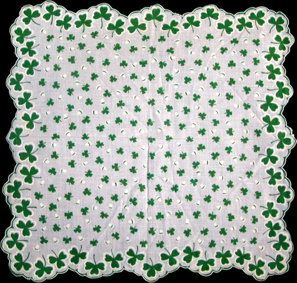 Green and White St. Patricks Day Vintage Handkerchief Unused