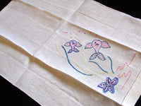 Starfish & Fish Embroidered Vintage Linen Towels, Pair