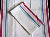 PAIR Startex Rainbow Stripe Vintage Kitchen Towels New Old Stock