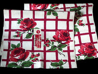 Startex Roses on Red Grid Vintage Kitchen Towels, Pair - NOS