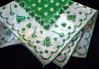 Green and White Sheer Nylon St Patricks Day Vintage Handkerchief