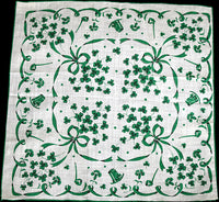 St. Patricks Day Irish Pipes Shamrocks Vintage Handkerchief Bows